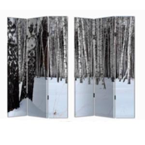 Biombo de madera con estampado de Arboles nevados de 120x180cm