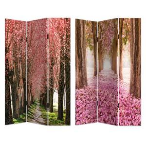 Biombo de madera con estampado de Camino de Arboles de hojas rosas de 120x180cm