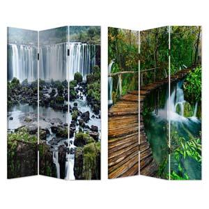 Biombo de madera con estampado de Paisaje de Cascada y Rio de 120x180cm