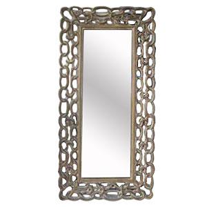 Espejo en marco de madera calado diseño cadena  de 50x150cm