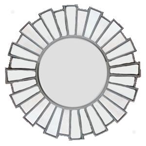 Marco redondo tapizado de espejos diseño sol 51x50cm