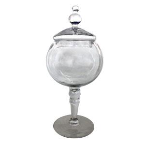 Bombonera de cristal redonda con tapa de 12x14.5x40cm