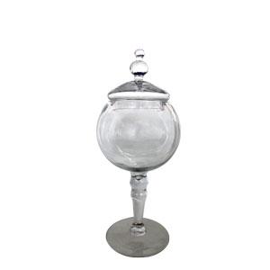 Bombonera de cristal redonda con tapa de 9.3x11x31cm
