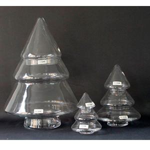 Bombonera de cristal con tapa diseño Pino navideño de 16x11x11cm