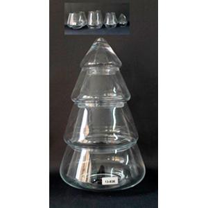 Bombonera de cristal con tapa diseño Pino navideño de 36x23.5x23.5cm