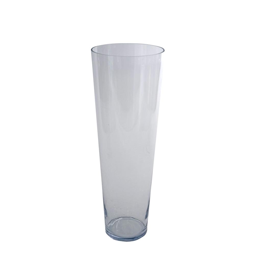 Florero de vidrio conico de 70x25cm