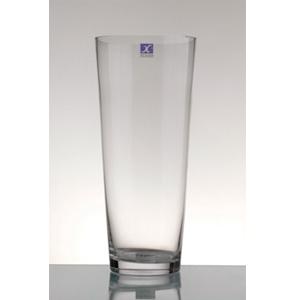 Florero de vidrio transparente conico de 90x25cm