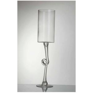 Copa cilindrica con mango trenzado de vidrio 40X10 cm