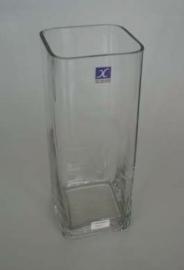Florero de vidrio cuadrado alto 12 x 50 cm