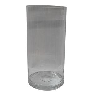 Florero de vidrio cilíndrico de 15x30 cm
