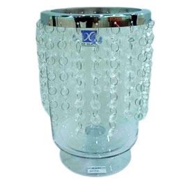 Candelabro de cristal con cuentas de 15x13x25cm