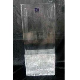 Florero de cristal con base de cuentas de 25cm