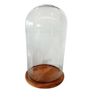 Capelo de cristal con base de madera 27x43cm