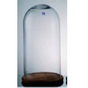 Capelo de cristal con base de madera 32x55cm