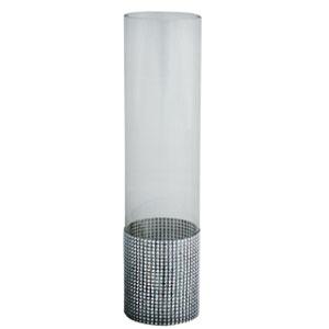 Florero cilíndrico de cristal y tira de brillantes de 10x10x40cm