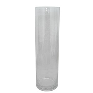Florero de vidrio cilindrico de 35x10cm