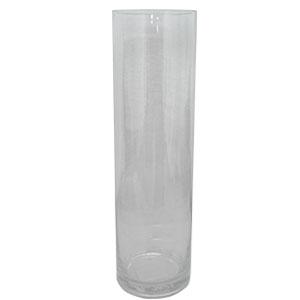 Florero de vidrio cilindrico de 45x10cm