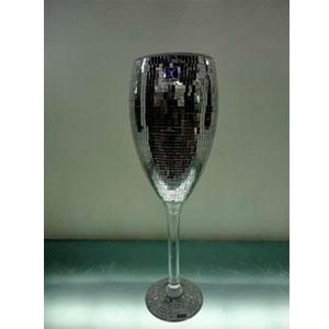Copa de cristal forrada de espejos de 13x12x60cm