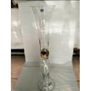 Florero de vidrio diseño copa con piedras encapsuladas de 79x19cm
