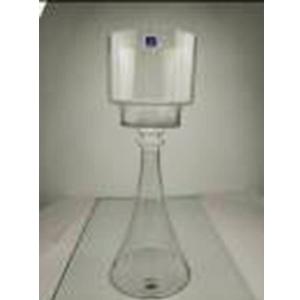 Candelabro de vidrio con base diseño campana de 73x20cm