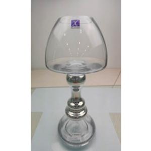 Frutero de cristal con base plateada de 9x13.5x30cm