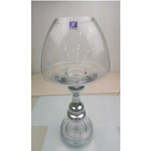 Frutero de cristal con base plateada de 11.5x13.5x33cm