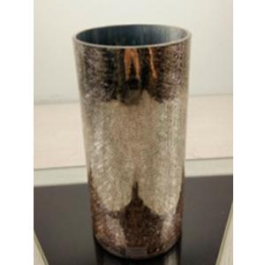 Florero cilindrico de cristal dorado craquelado de 15x15x30cm