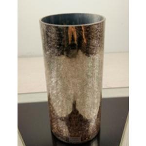 Florero cilindrico de cristal dorado craquelado 15x15x20cm