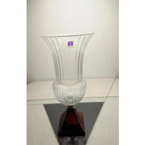 Florero de cristal diseño copa con base cobre de 23.5x14x37cm