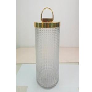 Candelabro de cristal cilindrico con tapa dorada de 15x15x30cm