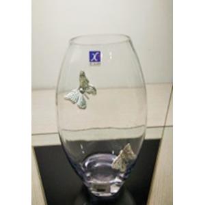 Florero de cristal oval con mariposa de metal plateada de 12x80x30cm