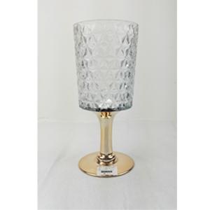 Florero diseño copa con base dorada de 13x12x30cm
