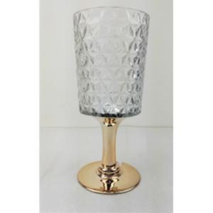 Florero diseño copa con base dorada de 13x12x40cm