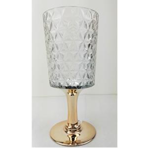 Florero diseño copa con base dorada de 13x12x50cm