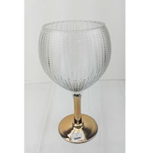 Florero diseño copa con base dorada de 15x14x36cm