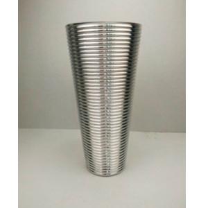 Florero conico de cristal dorado diseño líneas horizontales de 19x12x40cm