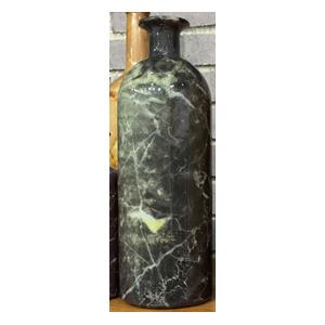 Botella de cristal diseño marmol negro con amarillo de 9x27cm