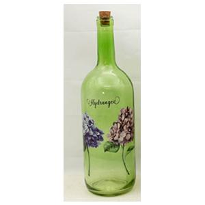 Botella de cristal verde con estampado de flores moradas de 10x34cm