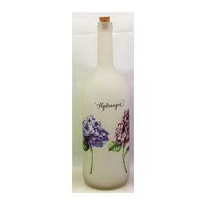 Botella de cristal blanca con estampado de flores moradas de 10x34cm