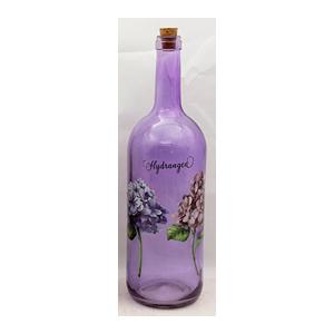 Botella de cristal morada con estampado de flores moradas de 10x34cm