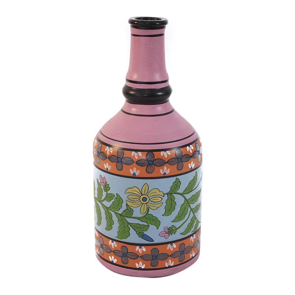 Florero de vidrio tipo botella con diseño de flores en tonos rosas y negros de 24x24x52cm