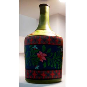 Florero de vidrio tipo botella con diseño de flores en tonos azul y amarillo de 24x24x48