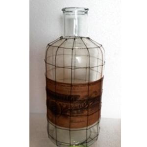 Botella de cristal con estampado y malla de 28x28x48cm