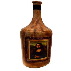 Botella de cristal terminado antiguo estampado de la Gioconda de 19x19x38cm