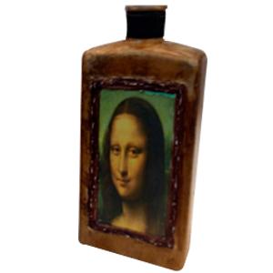 Botella de cristal rectangular terminado antiguo estampado de la Gioconda de 19x7x25cm