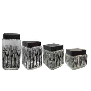 Juego de 4 Especieros cuadrados de cristal con tapa estampado de cubiertos de 11.4x22.5cm