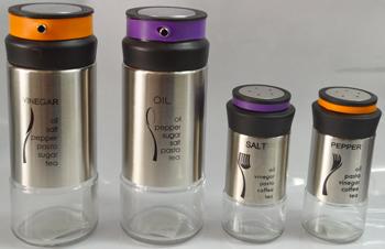 Juego de Vinagrera  Aceitera; Salero y Pimientero de cristal con cubierta y tapa de acero