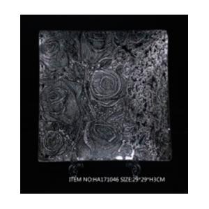 Plato de cristal cuadrado transparente con diseño de rosas plata de 34x34x2.8cm