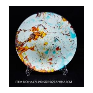 Plato de cristal redondo blanco con colores de 34x 3cm