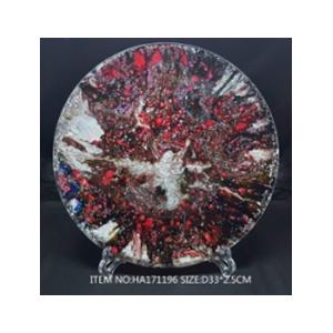Plato de cristal redondo transparente con puntos de color plata y rojo de 34x 3cm